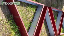 Огрядки треугольник из оцинкованной стали сторона 1м для цветника